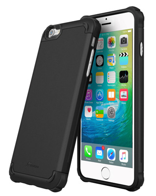 9. iPhone 6S Case, roocase [Exec Tough PRO] iPhone 6 / iPhone 6S Slim Fit Case Hybrid PC / TPU [Corner Protection] Armor Cover Case for Apple iPhone 6S 6 (4.7), Granite Black