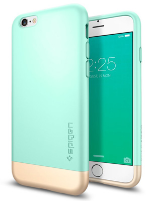 3. iPhone 6S Case, Spigen® [Style Armor] Safe Slide [Mint] SOFT-Interior Scratch Protection Metallic Finished Dual Layer Protection Slim Hard Case for iPhone 6S (2018) - Mint (SGP11616)