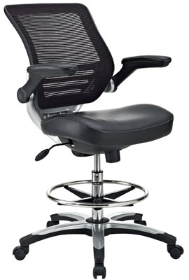 6. LexMod Edge Office Drafting Chair with Feet Ring, Mesh Back and Black Leatherette Seat