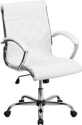 7. Flash Furniture GO-1297M-MID-WHITE-GGMid-Back Designer White Leather Executive Office Chair with Chrome Base