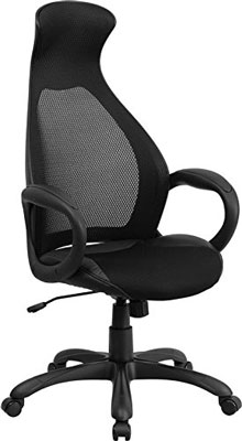 10. Flash Furniture CH-CX0528H01-BK-LEA-GG High Back Executive Mesh Chair with Leather Inset Seat, Best Office Chair Under 200$ Reviews