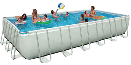 10. Intex 24ft X 12ft X 52in Rectangular Ultra Frame Pool Set with Sand Filter Pump