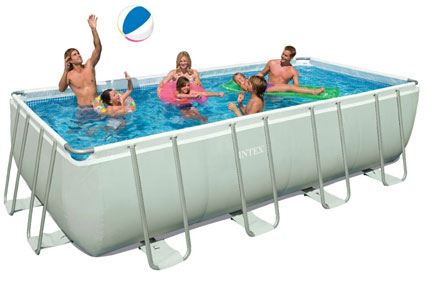 2. Intex 18ft X 9ft X 52in Rectangular Ultra Frame Pool Set