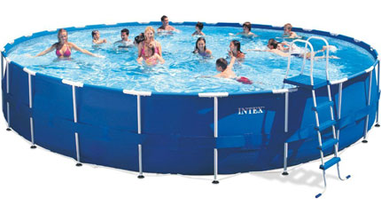 7. Intex 24ft X 52in Metal Frame Pool Set