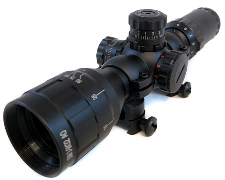 9. Monstrum Tactical 3-9x32 AO Rifle Scope with Illuminated Range Finder Reticle and High Profile Scope Rings