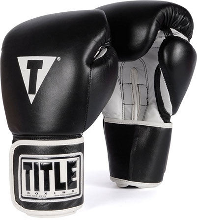 6. TITLE Boxing Pro Style Leather Training Gloves