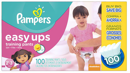 3. Pampers Easy Ups Training Pants Girls Size 4 2T/3T, 100 Count