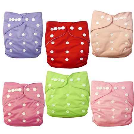 10. Alva Baby 6pcs Pack Fitted Pocket Washable Adjustable Cloth Diaper with 2 Inserts Each (Girl Color) 6BM88