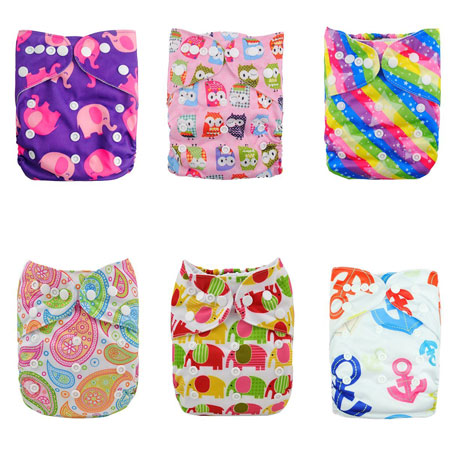 6. Alva Baby Reuseable Washable Pocket Cloth 6 diapers + 12 inserts (Girl Color)6DM18
