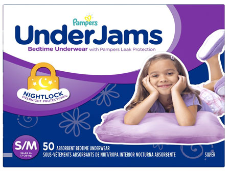 1. Pampers Underjams Bedtime Underwear Girls, Size Small/Medium Diapers, 50 Count