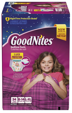 2. GoodNites Bedtime Pants for Girls, Size Large/Extra Large, 34 Count