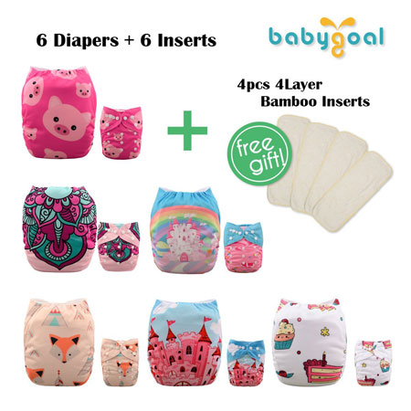 8. Babygoal Xmas Baby Adjustable Reuseable Positioning Pocket Cloth Diaper, baby girl clothes, 6pcs cloth diapers+ 6 Inserts 6FG34D