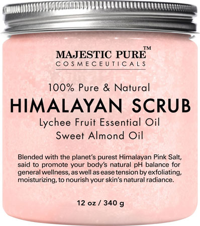 6. Himalayan Salt Body Scrub with Lychee Essential Oil from Majestic Pure
