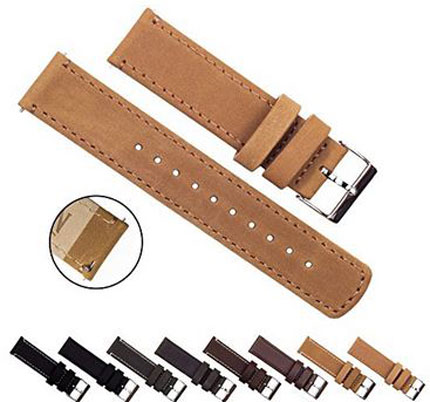 3. Barton Quick Release - Top Grain Leather Watch Band - Choice of Color & Width