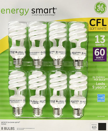5. GE 13-Watt Energy Smart Fluorescent Light Bulbs