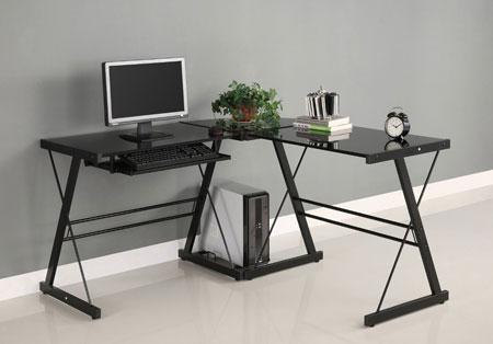 2. Walker Edison Soreno 3-Piece Corner Desk, Black with Black Glass