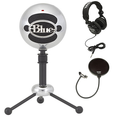 7. Blue Microphones Snowball Plug-and-Play USB Microphone in Brushed Aluminum with Studio Headphones and Microphone Pop Filter