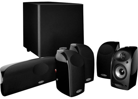 7. Polk Audio TL1600 5.1 Compact Home Theater System with Powered Subwoofer