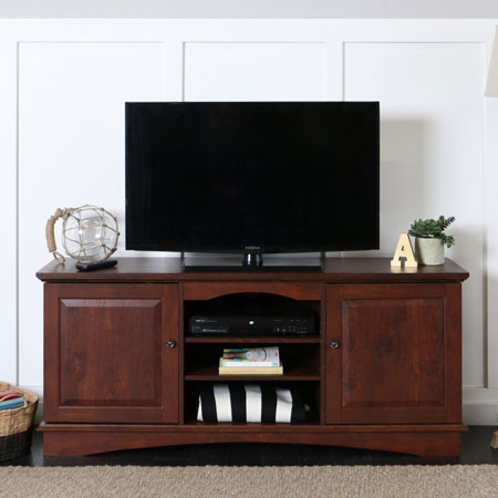 "9. Walker Edison 60"" wood storage TV stand console brown"