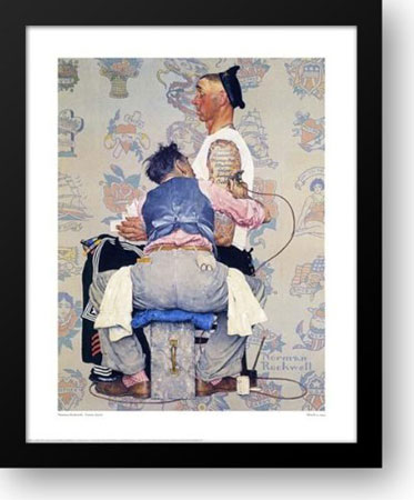9. Tattoo Artist 25x30 Framed Art Print by Norman Rockwell