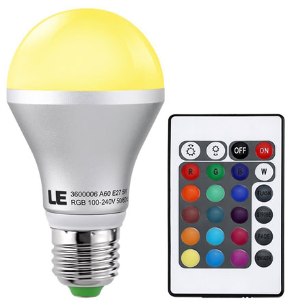 5. LE Dimmable A19 E26 RGB LED Bulbs