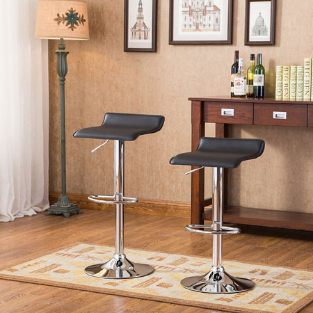 4. Roundhill Furniture Contemporary Chrome Air Lift Adjustable Swivel Stools, Set of 2