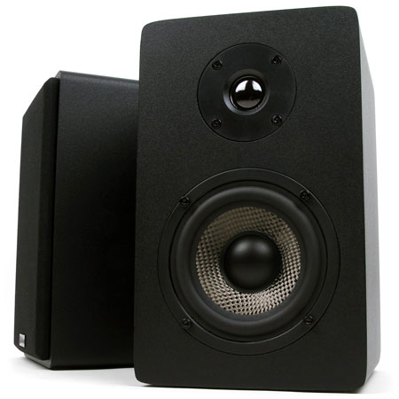 9. Micca MB42X Bookshelf Speakers With 4-Inch Carbon Fiber Woofer and Silk Dome Tweeter (Black, Pair)