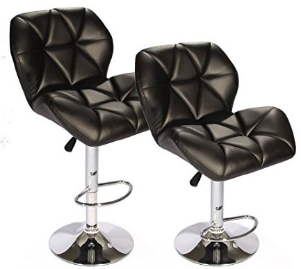 2. SET of 2 Black Bar Stools Leather Modern Hydraulic Swivel Dinning Chair BarstoolsB01