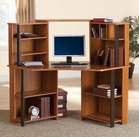 10. Corner Computer Desk Workstation with hutch, Brown