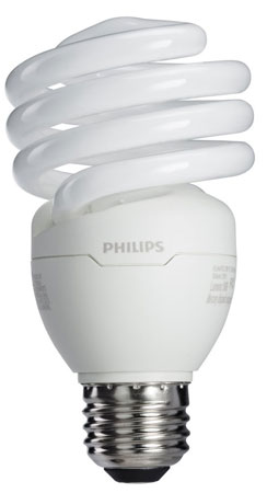 9. Philips 433557 23W 100-watt T2 Twister 6500K CFL Light Bulb, 4-Pack
