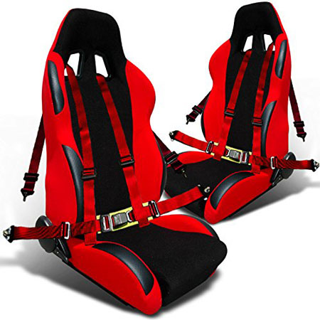 3. Jdm Black/Red Sports Racing Seat Reclinable