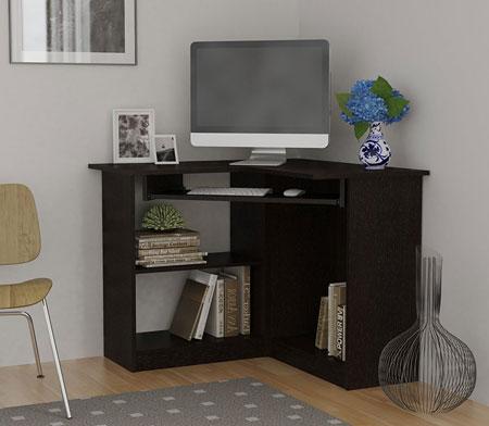 6. Essential Home Corner Computer Desk, Espresso