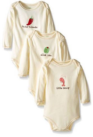 9. Touched by Nature Unisex Baby Organic Long Sleeved Bodysuit 3 Pack