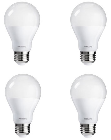 8. Philips 455717 100W Equivalent A19 LED Daylight Light Bulb, 4-Pack