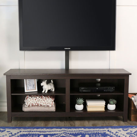 "7. W.E furniture 58"" wood TV stand consolewith mount"