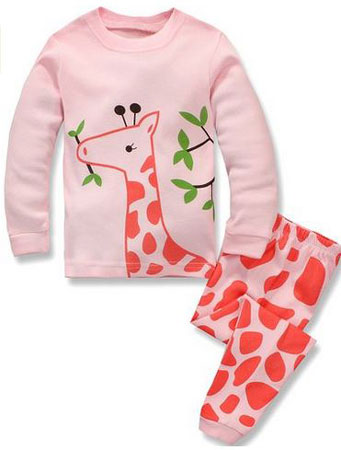 4. Babypajama Giraffe Little Girls' Sleepwear Cotton Pajamas T-Shirt & Pants PS