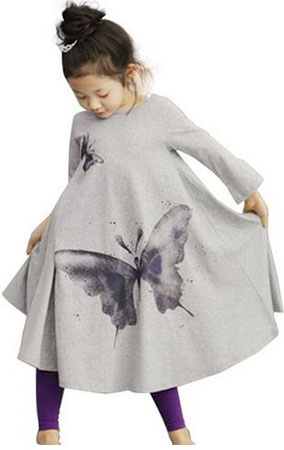 3. Dillian Girls Butterfly Print Dress