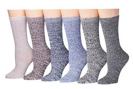 3. Tipi Toe Women's Ragg Cotton Lightweight Crew Boot Socks
