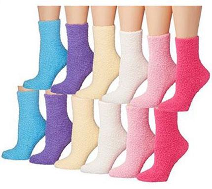 9. Tipi Toe Women's 12-Pairs Soft Fuzzy Anti-Skid Crew Socks