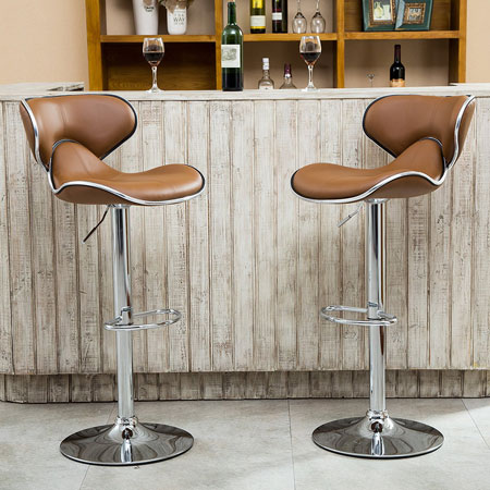 5. Roundhill Furniture Masaccio Cushioned Leatherette Upholstery Airlift Adjustable Swivel Barstool, Set of 2, Caramel