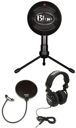 4. Blue Microphones Snowball Ice Condenser Microphone (Black) with Knox Pop Filter & Studio Headphones