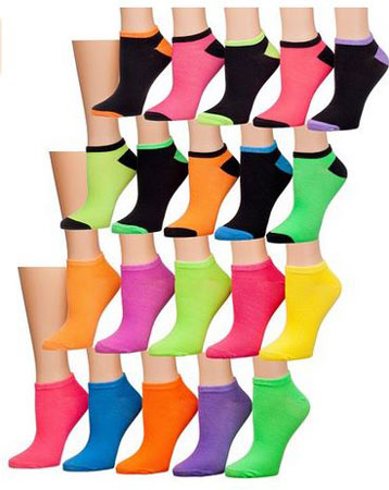 2. Tipi Toe Women's 20 Pairs Colorful Patterned Low Cut / No Show Socks