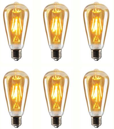 10. Vintage Edison LED Bulb, CMYK Dimmable 4W ST64 Antique LED Bulb Squirrel Cage Filament Light
