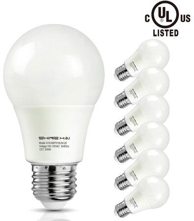 4. A19 LED Bulbs, SHINE HAI 3000K 800lm Non-dimmable UL-Listed LED Light