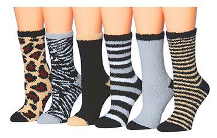 6. Tipi Toe Women's 6-Pairs Patterned & Solid Anti-Skid Soft Fuzzy Crew Socks