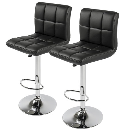 6. Best Choice Products Set of 2 PU Leather Adjustable Bar Stools Counter Swivel Barstool Pub black