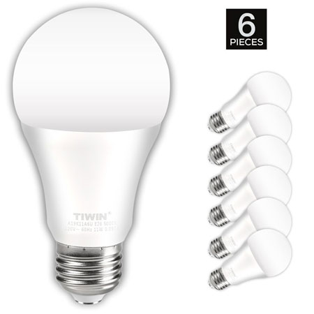 4. TIWIN A19 E26 LED Light Bulbs 100-watt equivalent (11W)
