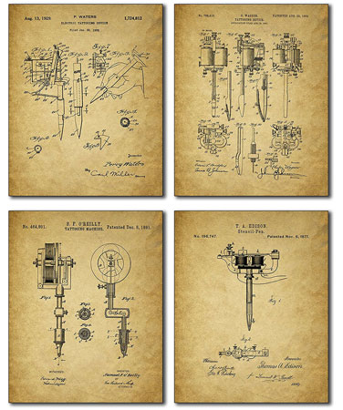 1. Tattoo Artist Patent Prints - Set of Four Vintage Wall Art Photos