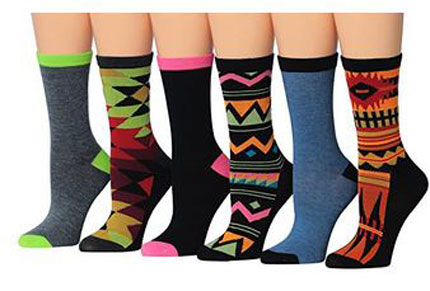 7. Tipi Toe Women's 6-Pairs Colorful Patterned Crew Socks
