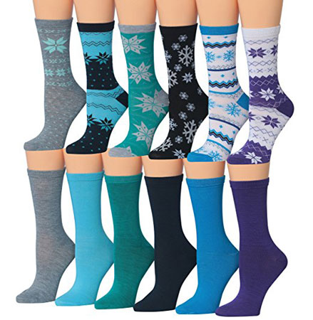 1. Tipi Toe Women's 12-Pairs Snowflake Patterned Colorful Crew Socks, Fits shoe size 5-9, WC10-AB